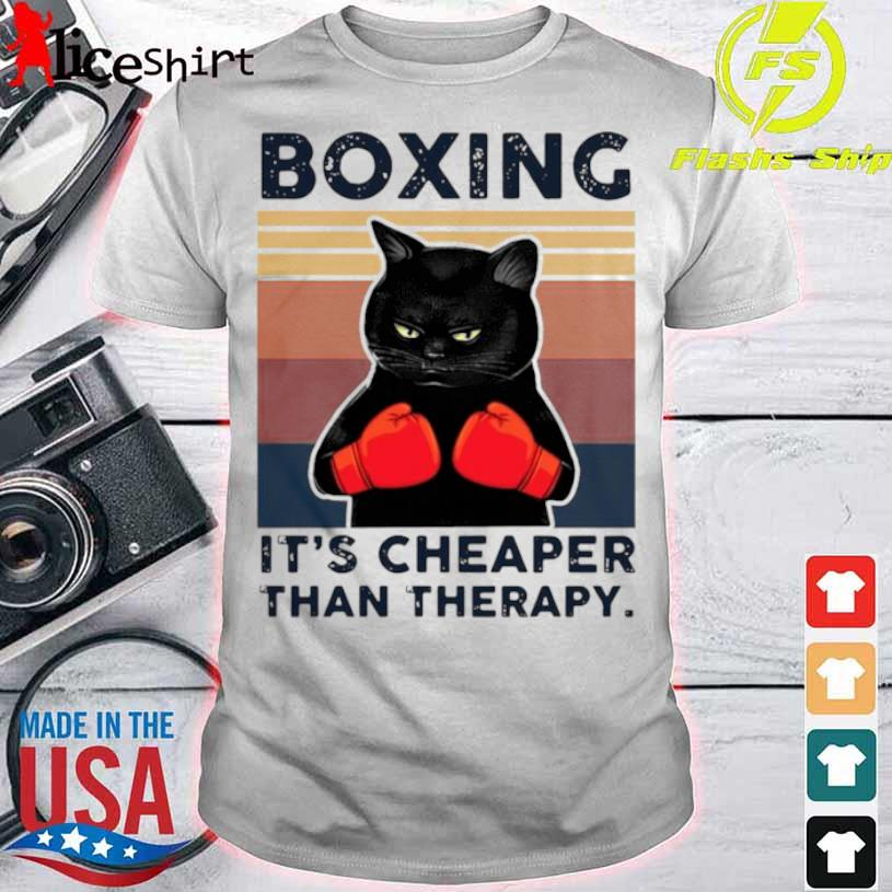 Black Cat Boxing Its Cheaper Than Therapy Vintage Shirt