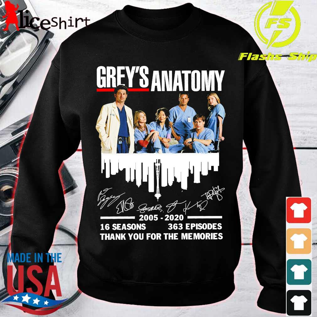 Grey's Anatomy 2025 2020 16 seasons 363 episodes thank You for the memories signatures Shirt sweater