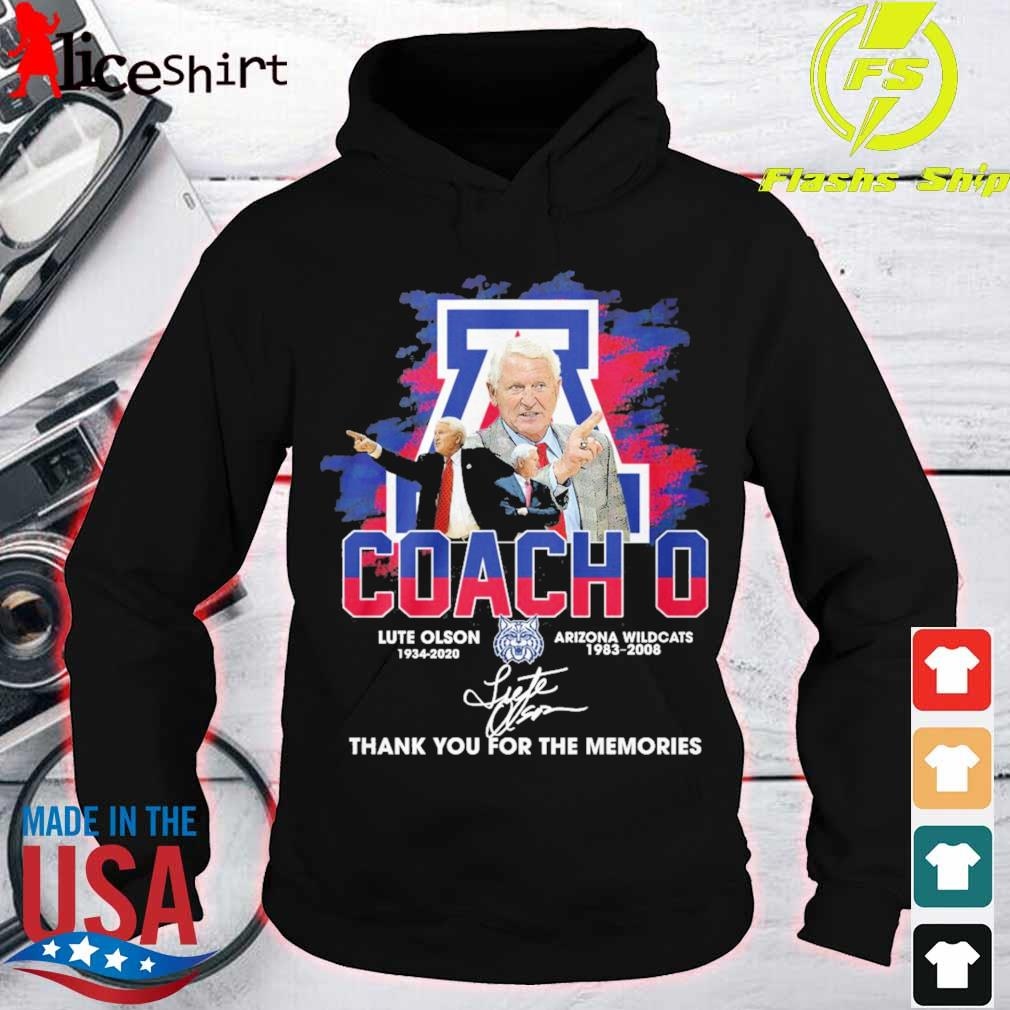 Coach o Lute Olson 1934 2020 Arizona Wildcats 1983 2008 signature s hoodie