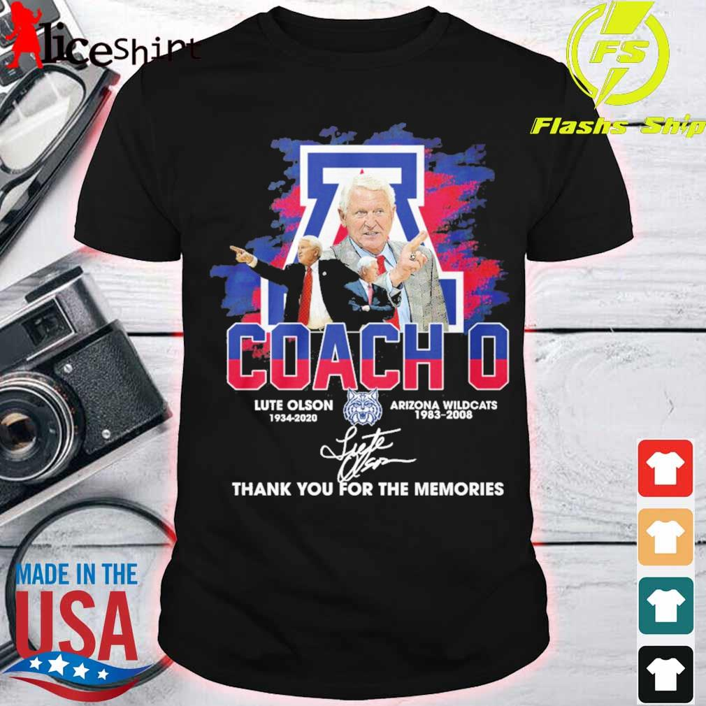 Coach o Lute Olson 1934 2020 Arizona Wildcats 1983 2008 signature shirt