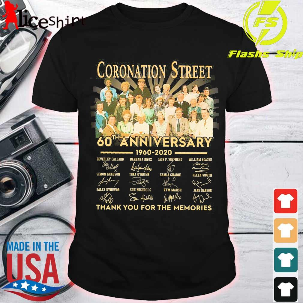 Coronation Street 60th anniversary 1960 2020 thank You for the memories signatures shirt